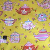 Dena Designs PWDF182 Tiddlywinks Teatime Yellow Cotton Fabric By Yard
