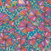 Kathy Doughty Folk Art Revolution Wagon Wheels Contemporary Cotton Fabric By Yd