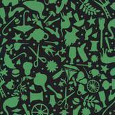 Kaffe Fassett GP119 Folk Art Black Cotton Fabric By The Yard