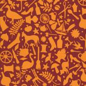Kaffe Fassett GP119 Folk Art Rust Cotton Fabric By The Yard
