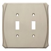W34475-SN Serene Double Switch Wall Cover Plate Satin NIckel Finish