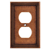Brainerd W16046-CPS Ruston Sponged Copper Single Duplex Outlet Cover Plate