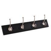 "Style Selections 27"" 4 Pilltop Hooks Coat & Hat Rail Black w/ Satin Nickel"