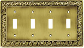 Franklin Brass 64043 Paisley Quad Switch Tumbled Antique Brass Cover Plate