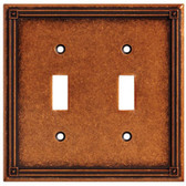 Brainerd W16045-CPS Ruston Sponged Copper Double Switch Wall Cover Plate