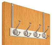 """Lynk 500100 14.8"""" 4 Hook Over The Door Coat/Hat Rail White & Satin Nickel"""