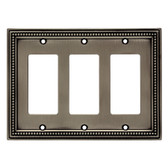 BRAINERD W33793-BSP Brushed Satin Pewter Beaded Triple GFCI Wall Cover Plate