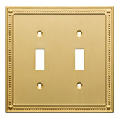 Franklin Brass W35061-BB Brushed Brass Classic Beaded Double Switch Cover Plate
