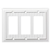 W35292-PW Pure White Classic Beadboard Wood Architect Triple GFCI Cover Plate