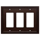 Brainerd W33793-CO Coco Bronze Classic Beaded Triple GFCI Cover Plate