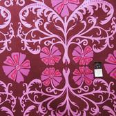 Valori Well LVW03 Jenaveve Tribal Floral Merlot Linen Blend Fabric By The Bolt