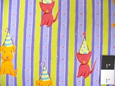 Free Spirit Felicity MIller Cat & Dog Stripe Lime Fabric By The 15 Yard Bolt