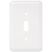 W10245-W White Stamped Metal Single Switch Toggle Cover Plate
