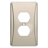 W32772SN Upton Satin Nickel Single Duplex Outlet Cover Plate