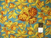 LeRouvray Encore Med Stemmed Floral Turq Fabric By Yd