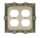 64458 Pineapple Double Duplex Outlet Satin Pewter Cover Plate