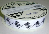 "Racing Flag Fabric Grosgrain Ribbon 7/8"" 10 Yards"