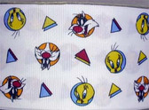 "Looney Tunes Sylvester & Tweety Fabric Grosgrain Ribbon 10 Yds 2 1/4"" Wide"