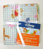 Winnie The Pooh Fat Quarters 100% Cotton Lot Of 4