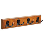 """085-03-0204 16"""" 4 Hook Coat/Hat Rail Distressed Walnut & Soft Iron"""