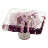 "142337 1 1/2"" Handmade Fused Glass Purple Confetti Cabinet Drawer Pull Knob"