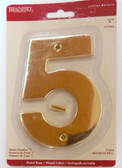 "BH3085-PB 5"" House Number Polished Brass ""5"""
