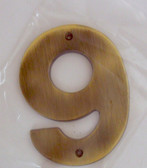 "BH3089-AB 5"" House Number Antique Brass ""9"""