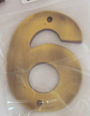 "BH3086-AB 5"" House Number Antique Brass ""6"""