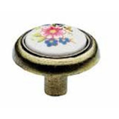 P50082-ABW Antique Brass & White Ceramic w/ Flower 1 1/4 Cabinet Drawer Knob