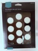 "085-03-3473 1 1/8"" White Round Cabinet Drawer Knob 10 Pack"
