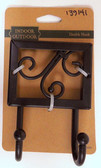 139141 Flat Black Ornate Scroll Double Prong Coat and Hat Hook