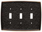144038 Hammered Bronze & Copper Triple Switch Cover Plate