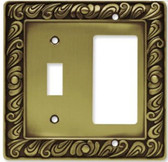 64053 Paisley Single Switch / GFCI  Tumbled Antique Brass Cover Plate