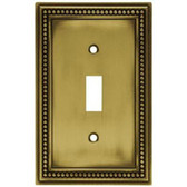 W10097-ABT Antique Brass Beaded Single Switch Cover Plate