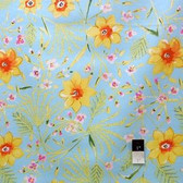 Dena Designs LIDF003 Sunshine Jasmine Aqua Linen Fabric By The Yard