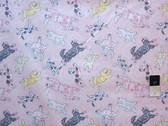 Annette Tatum AT48 Soleil Flying Pups Pink Fabric By The Yard