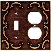 64275 Sponged Copper French Lace Single Switch Duplex Combo Cover Plate