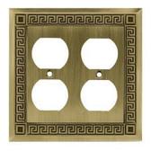 W116ZMC-SBA Antique Bronze Greek Key Double Duplex Cover Plate