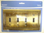 64326 Antique Bronze Greek Key Quad Switch Cover Wall Plate