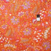 Dena Designs LIDF009 Sunshine Bell Flower Orange Linen Fabric By Yard