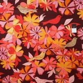 Valori Well LVW04 Jenaveve Floral Birds Merlot Linen Fabric By Yard