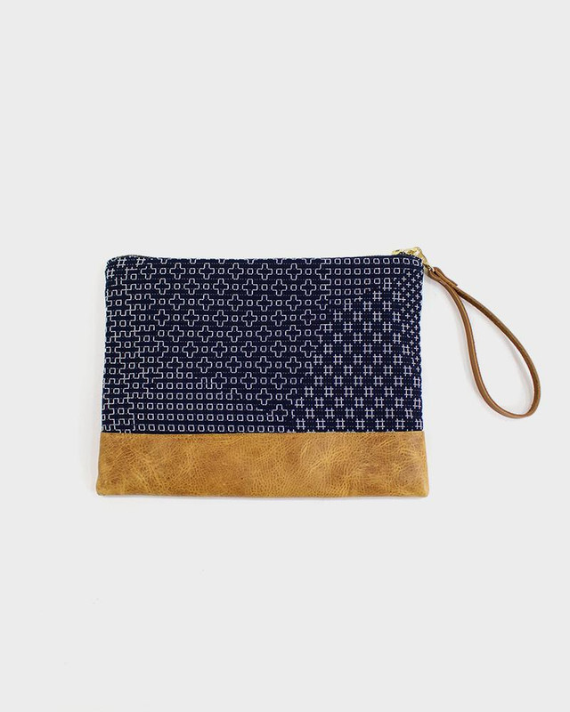 Sashiko Leather Clutch, Indigo