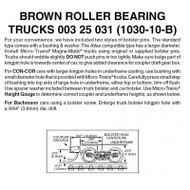 312531 MICRO TRAINS / {003 25 031} ROLLER BEARING TRUCKS (1030-10-B)  (SCALE=N)  - YANKEEDABBLER  PART #  = 489-325031