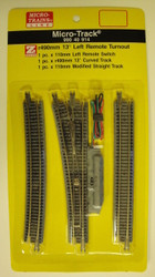 MICRO TRAINS / {99040914} 13-Degree Left  Remote Turnout   (SCALE=Z)  YANKEEDABBLER  PART #  = 489-99040914
