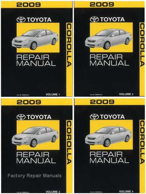 2009 toyota corolla factory repair manual 4 volume set. Black Bedroom Furniture Sets. Home Design Ideas