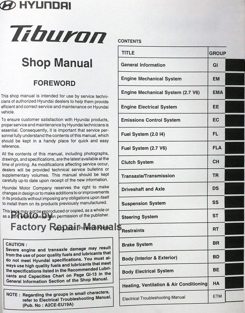 2003 hyundai tiburon factory service manual original shop