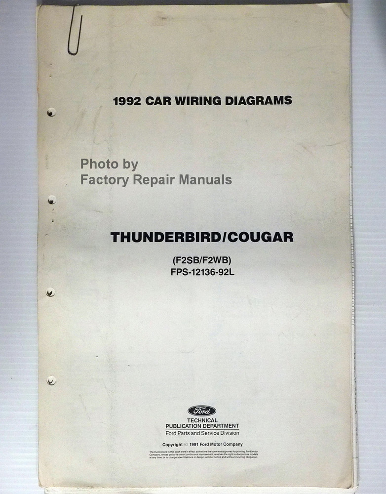 1992 Ford Thunderbird Mercury Cougar Electrical Wiring ...