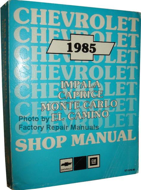 1985 chevy impala caprice monte carlo el camino factory