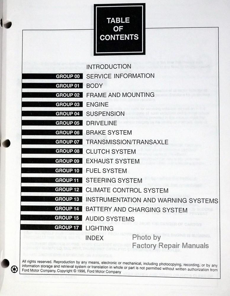 1997 ford contour mercury mystique factory shop service. Black Bedroom Furniture Sets. Home Design Ideas