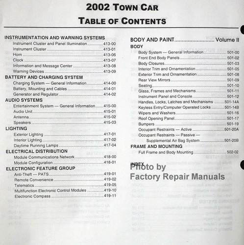 2002 lincoln town car factory service manual set original. Black Bedroom Furniture Sets. Home Design Ideas